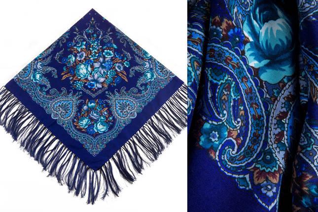 Женский синий павлопосадский платок Изумрудный восторг, фото 2