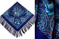 Женский синий павлопосадский платок Изумрудный восторг