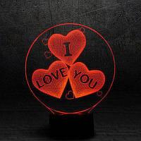 """3D Ночник , Светильник, LED лампа - """"Сердечки I Love You"""""""