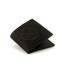 """Кошелёк мужской кожаный с гравировкой в морском стиле на кнопке """"Wallet Square"""". Цвет чёрный"""