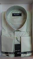 Мужская рубашка приталенная запонка Pierre Pasolini оливка