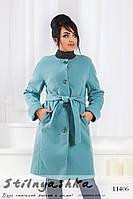 Утепленное пальто на пуговицах большого размера ментол