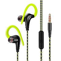 ➨Гарнитура FONGE S760 Зеленая вакуумная с дужкой за ухо для смартфона и планшета