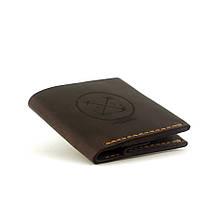 """Кошелёк мужской кожаный с гравировкой в морском стиле и карманом для монет """"Wallet Square"""". Цвет коричневый"""