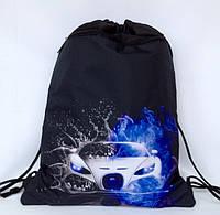 """Рюкзак мешок для сменной обуви """" Машина"""" с дополнительным карманом на молнии"""