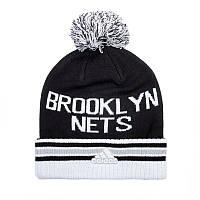Шапка Адидас с помпоном и отворотом Brooklyn Nets AC0943
