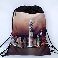 """Рюкзак мешок для сменной обуви """" Города """" с дополнительным карманом на молнии"""