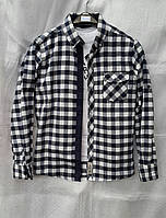Рубашка в клетку байковая для мальчиков 140,146,152,158,164,170  роста Синяя с белым