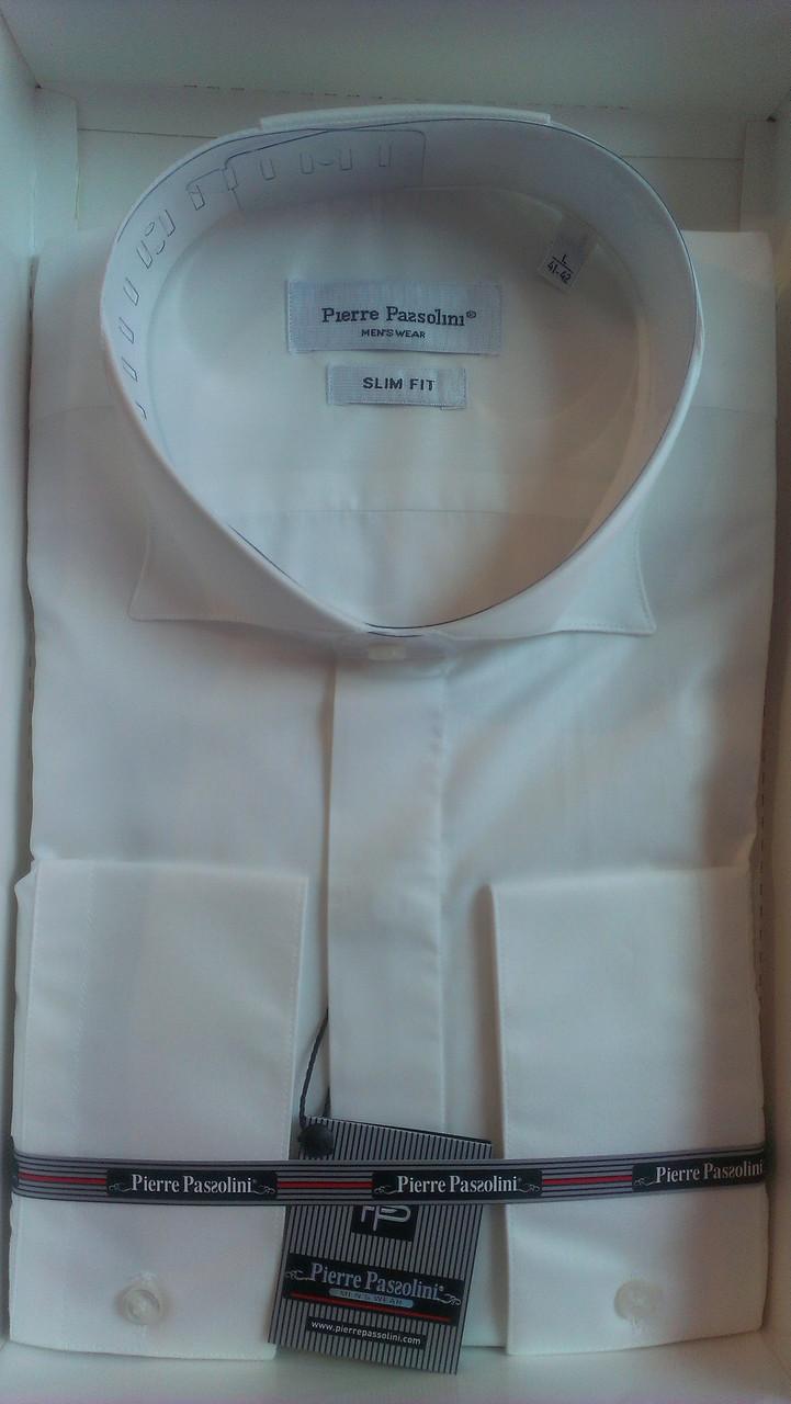 Рубашка приталенная айвори (ivory) с длинным рукавом Pierre Pasolini бабочка