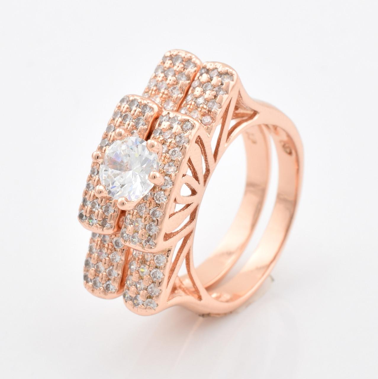 Кольцо двойное 56144 размер 17, белые фианиты, позолота РО