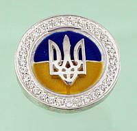Срібний значок з емаллю та цирконом
