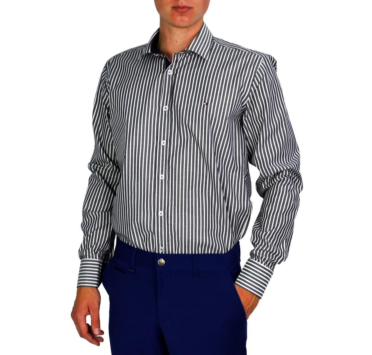 fa78c7c8a80 Полосатая мужская рубашка классическая TOMMY -