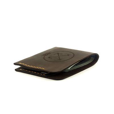 Мужской кошелёк кожаный в стиле минимализм Triplet (as120302) Коричневый