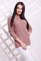 Красивый женский вязаный свитер-реглан с узором ромбами цвет фрез