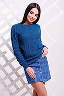 Красивый женский вязаный свитер-реглан с узором ромбами цвет волна