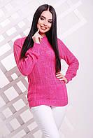 Красивый женский вязаный свитер-реглан с узором ромбами розовый