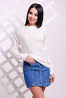 Красивый женский вязаный свитер-реглан с узором ромбами молочный