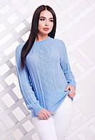 Красивый женский вязаный свитер-реглан с узором ромбами голубой