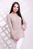 Красивый женский вязаный свитер-реглан с узором ромбами капучино