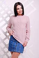 Красивый женский вязаный свитер-реглан с узором ромбами пудровый