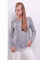 Женский красивый вязаный свитер с узором в косичку и пояском темно-серый