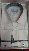 Мужская рубашка приталенная айвори (ivory) запонку Pierre Pasolini