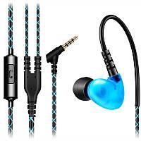 ☞Гарнитура FONGE F-1 Синяя вакуумная с удобной дужкой за ухо для смартфона