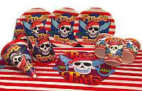 """Набор для дня рождения """" Пираты """". Тарелки -10 шт. Стаканчики - 10 шт. Колпачки - 10 шт. Скатерть - 1 шт."""