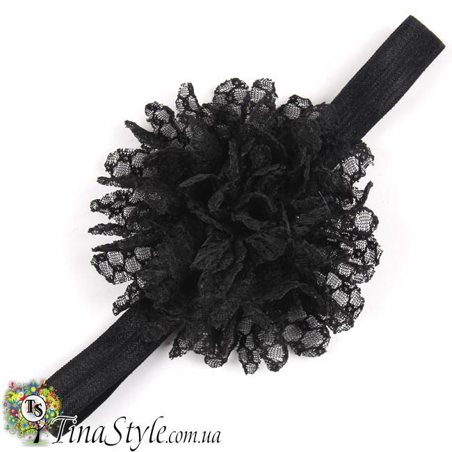 Повязка на голову Цветок черная черный цвет повязочка  для детей девочек младенца новорожденной пов'язочка