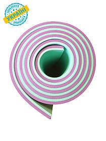 Коврик (каремат) 180*60*0.8 см для туризма и спорта Eva-Line двухсторонний бирюзовый/розовый