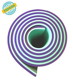 Коврик (каремат) 180*60*0.8 см для туризма и спорта Eva-Line двухсторонний фиолетовый/бирюзовый