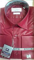 Рубашка приталенная под запонку Pierre Pasolini гнилая вишня