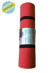 Коврик (каремат) 180*60*0.6 см для туризма и спорта Eva-Line двухсторонний желтый/красный