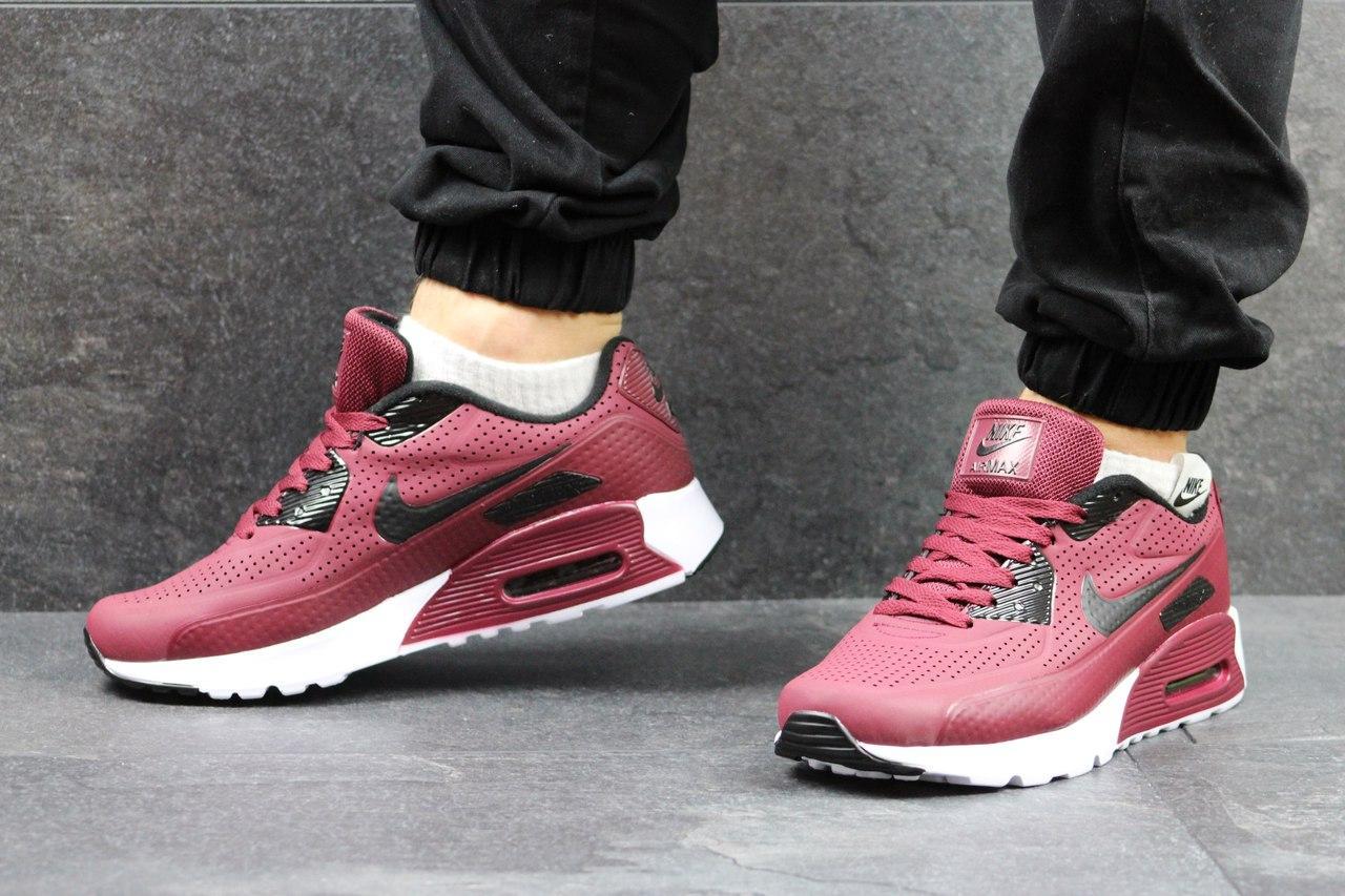 Кроссовки Nike Air Max мужские (бордовые), ТОП-реплика