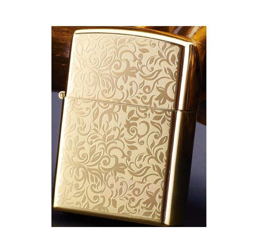 Електроімпульсна USB запальничка WEXT Classic золота з квітковим візерунком