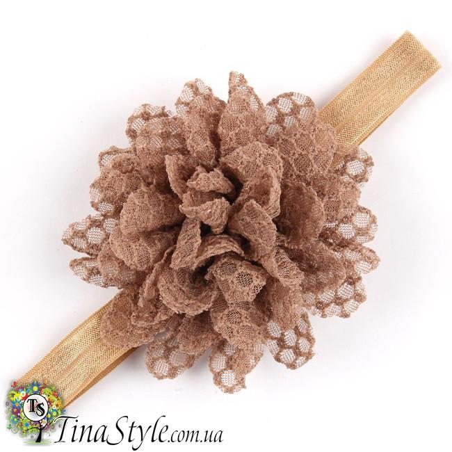 Повязка на голову Цветок коричневая шоколадная повязочка  для детей девочек младенца новорожденной пов'язочка