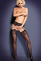Сексуальные чулки с поясом Пояс с чулками Obsessive S 500 Черный