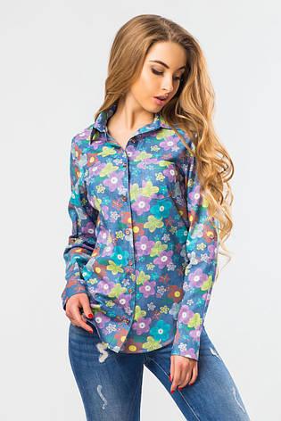 155ca0e1385 Стильная голубая джинсовая женская рубашка с длинным рукавом в цветочек