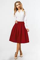 Стильная женская пышная юбка миди кирпичного цвета с карманами