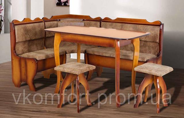 Кухонный уголок Даллас из дерева с мягким диваном и табуретами