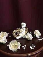 """Ангел гипсовый """"С цветочным сердцем 1"""" покраска золото"""