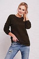 Женский мягкий вязаный свитер-реглан цвета хаки из ангоры кофта Нежана д/р