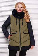 Теплая женская зимняя стеганая куртка пуховик с меховым капюшоном хаки-темно-синий Куртка 883