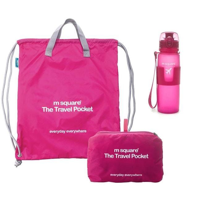 Набор портативная сумка-рюкзак и силиконовая бутылка для воды (розовый)