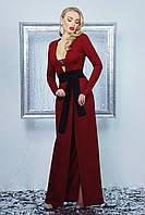 Вечернее длинное бордовое платье на запах с разрезом и красивым декольте платье Элиска д/р