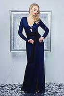 Вечернее длинное темно-синее платье на запах с разрезом и красивым декольте платье Элиска д/р
