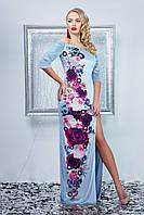Длинное вечернее женское велюровое платье с цветами,открытыми плечами и разрезом от бедра,голубое Цветана д/р