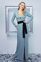 Вечернее длинное светло-серое платье на запах с разрезом и красивым декольте платье Элиска д/р