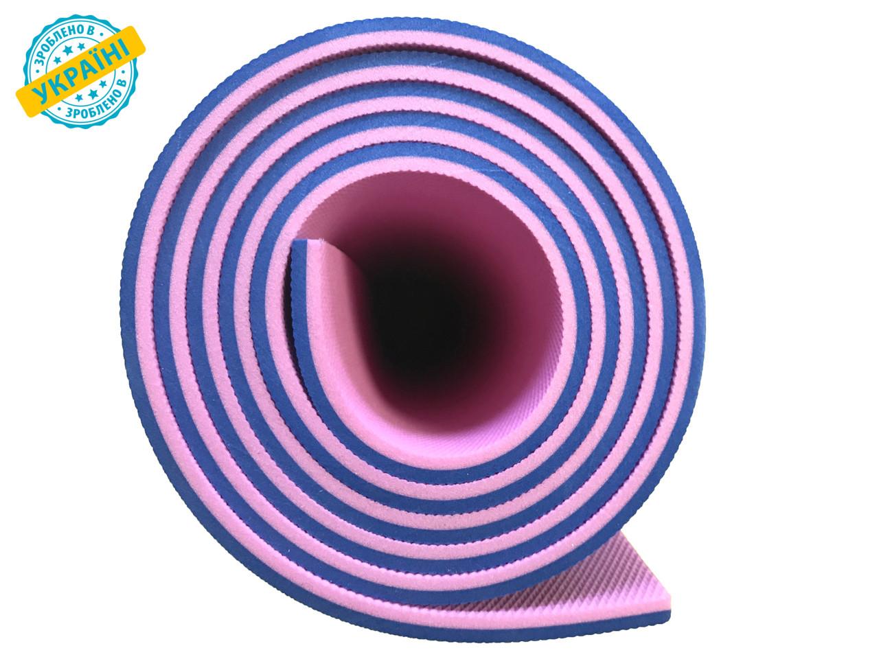 Коврик (каремат) 120*50*0.6 см для туризма и спорта Eva-Line двухсторонний синий/розовый