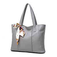 Жіноча сумка на блискавці сіра містка з довгими ручками і стрічкою, фото 1